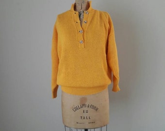 VINTAGE FRENCH CREEK Yellow Cotton Oversize Pullover Sweater With Buttons