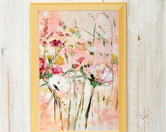 Charmant Bohemian Wall Art Pink Painting Pink Prints Canbas Art Wall Light Color  Abstract Flowers Bohemian Cottage