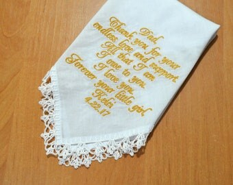 Gift for dad Wedding gift wedding handkerchief for Father of the bride Gift for Father from the Bride Father's day gift wedding hankies