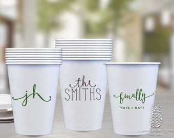 personalized cups monogram cups wedding party cups paper wedding cups party cups
