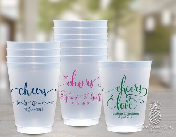 calligraphy frosted wedding cups weddings bridal showers personalized cups wedding party cups