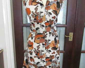 1960s/70s Canda International multi-brown floral sleeveless day dress