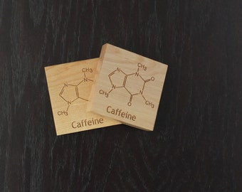 Caffeine Coasters. Great gift for the coffee lover or science geek. Beautiful housewarming, hostess or kitchen gift. Functional home decor.