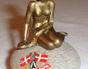 Vintage Mermaid / Mermaid Sculpture / Rock Copenhagen Denmark / Metal Paperweight / Art Deco / Kobenhavn