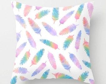Feathers Cushion, Bohemian Pillow, Colorful Throw Pillow, Boho Decorative Pillow, Feathers Cushion Cover, 16x16 18x18 20x20, White Purple