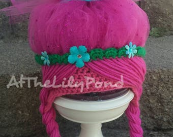 Troll hat, Poppy Trolls Hat, Trolls birthday party, Poppy Hat, Poppy Hair, Trolls Hair, Girls Birthday gift, Trolls Halloween Costume, Poppy