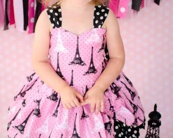 Eiffel Tower Dress - Girls Eiffel Tower Dress - Girls Paris Dress - Girls Parisian Dress - Polka Dot Dress - Pink and Black Polka Dot Dress