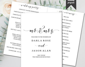 Editable Booklet Style Wedding Program, Elegant, Modern Design, Printable Template, DIY Wedding, PDF, Instant Download - Printable File