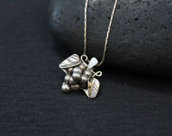 Delicate Sterling Silver Grape Pendant, Bunch of Grapes Necklace, Sterling Grape Bunch Necklace, Small Bunch of Grapes