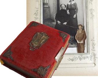 Antique Art Nouveau Photo Album with Original Photos - French Vintage Collectible 1900s Photo Book