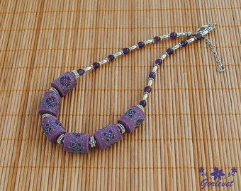 Amethyst necklace bib necklace purple jewelry gift for women Fabric necklace embroidered jewelry boho chic necklace Anniversary gift for her