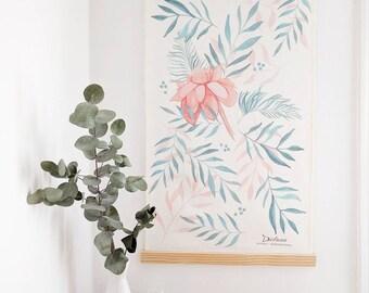 Illustration, decorative paint, watercolor painting, home decor, tropical flower, painting tropical flower, gift idea.