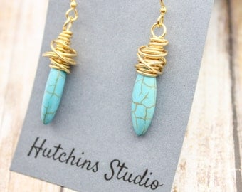 BRASS Messy Wire Wrapped Earrings - Marquis Stone Earrings- Turquoise Howlite Earring - Long Oval Stone Earrings - Turquoise Stone Earrings
