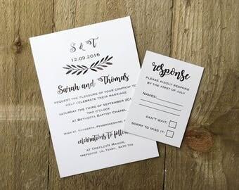 Silver foil rustic wedding invitation suite