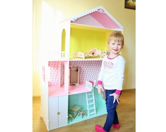 Big Dollhouse with furniture, Wooden dollhouse, Barbie Dollhouses, Dollhouse kit, Dollhouse furniture, Barbie Doll House, Doll House, Girl