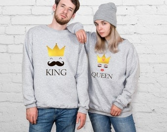 Queen King Hoodie Pärchen Pullover Mr and Mrs Sweatshirts Couple Sweaters Matching Sweatshirts Valentine's Day Gift Sweatshirt Cift  YPc018