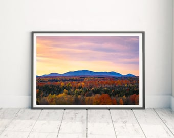 Baxter State Park - Mountain Print Art - Fall Landscape - Mountain Range - Large Mountain Print - Maine Wall Art - Photography