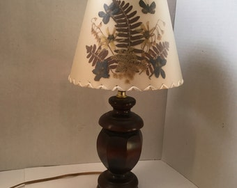 Dried Flowers And Butterfly Table Lamp Handcrafted Signed Shade With Wood Base Boho Jungalow 1970s