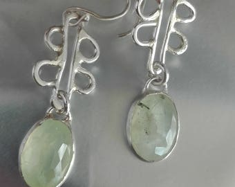 Prehnite Dangle Earrings, Green Stone Earrings, Silver Stone Earrings, Oval Stone Jewelry, Mint Green Earrings, Delicate Earrings