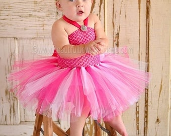 Vintage Baby Tutu Dress,Bright Pink Toddler Tutu,Baby Easter Tutu Dress,Tutu Dresses,Birthday Tutu Outfit Vintage Shabby Chic Birthday bows