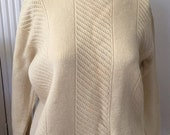 Authentic Vintage Austrian Ski Sweater, Womens Wool Austrian Ski Sweater 60s 70s Crew Neck, Natural Ecru Wool Pullover Sweater Austria Med M