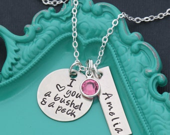 I Love You A Bushel and A Peck Necklace • Personalized Granddaughter Gift Ideas • Daughter Gifts • Cute Saying • Cute Phrase • Kids Quote