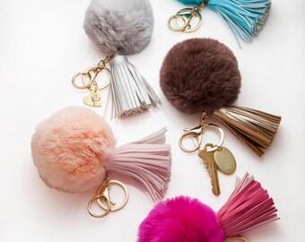 Pom Pom Keychain Personalized , Leather Tassel Fur Pom Pom , Pompom