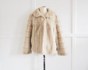 Vintage faux blonde mink fur Tissaval swing coat