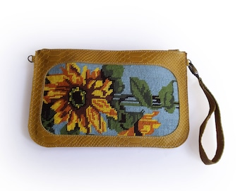 SALE Mustard yellow clutch with floral needlepoint, Leather clutch, yellow wallet, Needlepoint tapestry wallet