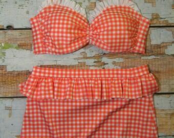 Retro High Waist Ruffle Bikini Set -  Vintage Inspired Swimsuit - Peplum Bottom - RED Gingham Size MEDIUM