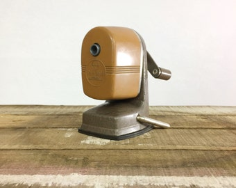 Pencil Sharpener Vintage Berol Apsco Vacu Hold Mustard Yellow Orange Gray Cast Metal Schoolhouse Desk Teacher Farmhouse Mid Century USA