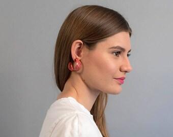 Wide Hoop Earrings / Vintage 80s Hoop Earrings / Pink Marbled Hoop Earrings / Statement Earrings / Costume Jewelry