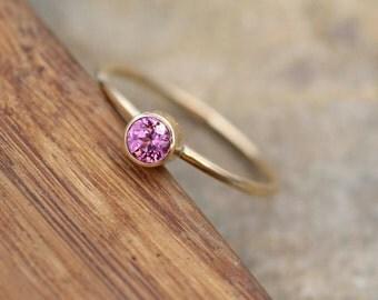 Rhodolite Garnet Round Gold Stacking Ring - 1.2 mm Band - Glossy Finish Pink Garnet Ring - Gold Stacking Ring -  Gold Ring