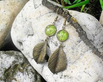 REAL FLOWER EARRINGS, green flower earring, elven earrings, fantasy earrings, dangle earrings, leaf earrings, elven, gardener, camper gift