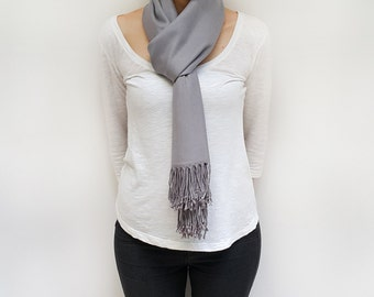 Gray Pashmina Scarf, Gray Large Scarf, Oversized Scarf Wrap, Gray Wedding Shawl, Present for Coworker, Formal Dress Wrap Formal Evening Wrap