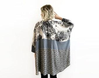 Oversize Kimono, Tropical Print Coverup, Oversized Clothing, Mix Print Kimono, Plus Size Kimono Wrap, Loose Coverup, Unique Plus Size Jacket