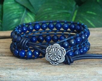 New! Beaded Leather Blue Gemstone Double Wrap Bracelet, Lapis Lazuli Stone Bracelet, Beaded Leather 2x Wrap, Boho Wrap, Artisan Bracelet