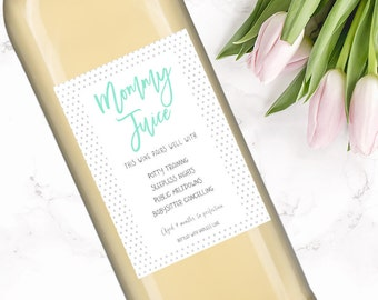 Mom Wine Bottle Label-personalized quote-wall art-life quotes-custom-mom life