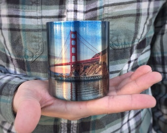 San Francisco Coffee Cup / Carabiner Clip Handle / Bay Area Art / Photo on Mug / Valentines Day Gift