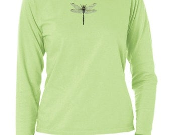 Ladies garment dyed Dragonfly long sleeve t-shirt