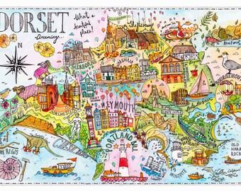 Dorset Map, Bournemouth Print, Dorset Map Print, Dorset Print, Dorset Poster, Isle of Purbeck, Weymouth, Dorchester, Swanage