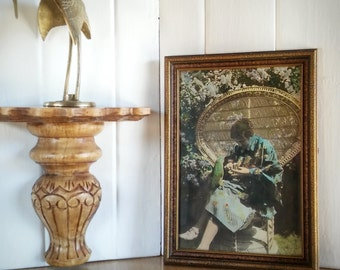 Antique Photo Woman with Parrot Wood Frame, Vintage 70s Old Photo Woman and Bird