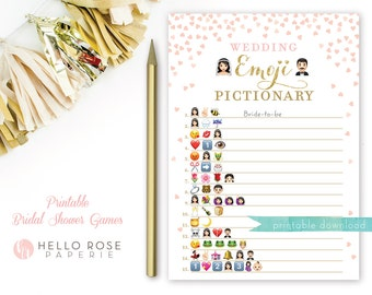 Pink and Gold Bridal Shower Wedding Emoji Pictionary Game . Bridal Shower Game Printable . Instant Download . Gold Glitter and Pink Emoji