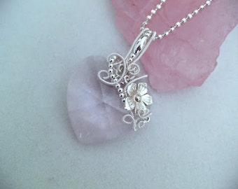 Pink cristal heart silver pendant, large Swarovski cristal heart silver wire wrapped pendant