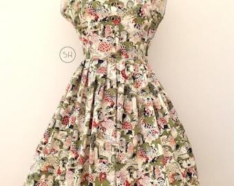 Rare 1950s dress Harlequin and Columbine novelty print full circle skirt