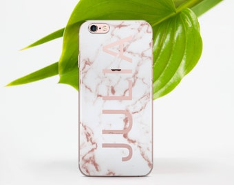 White Marble Phone Case iPhone 6 Case Pink Name 6 Plus iPhone Case Marble 6s iPhone Case to Samsung S6 Marble to Galaxy 6 Edge Plus Case 018