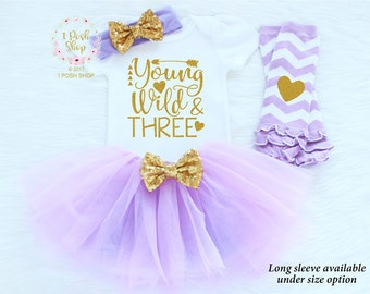 Third Birthday Outfit Girl, 3rd Birthday Outfit, Three Birthday Outfit, Young Wild & Three Shirt, 3 Birthday Shirt, Birthday Outfit BT2
