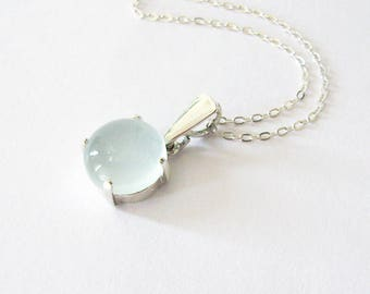Pale Aqua Blue Chalcedony Gemstone Pendant in Sterling Silver, 10mm Pastel Blue Gemstone Cabochon Necklace, Modern Minimalist Style