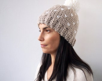 Crochet pattern Fair isle knit look hat woman  pom pom beanie , DIY ,  Instant download