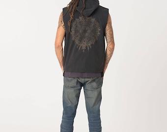 Vest, Mens Hood Vest, Black Vest, Hooded Vest Jacket With Mandala, Sacred Geometry, Mens Vest, Burning Man Festival Clothing